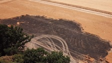 A charred crop field in Horsford, Norfolk.