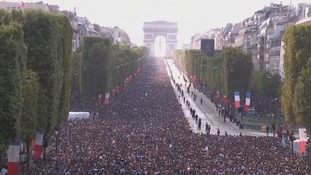 The Champs-Elysees packed once again.