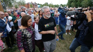 Sinn Féin holds a solidarity rally for Gerry Adams after attack on home