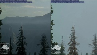 Forest fire smoke has rolled over Yosemite National Park in California.