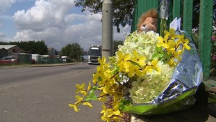 Tributes left to Kastytis Dambrauskas at the scene