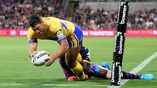 Ryan Hall scoring a try in the World Club Challenge