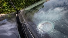 Damage caused to a car parked in the driveway at the home of Sinn Féin's Gerry Adams.