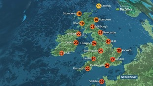There will be a top temperature of 27 Celsius (81 F) in the southeast.