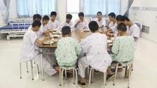Some of the rescued players in hospital (Thailand's Ministry of Health and the Chiang Rai Prachanukroh Hospital)
