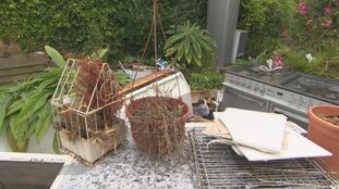 Kitchen cooker and fridge in garden