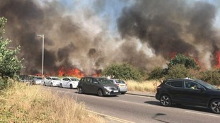 The dry weather caused a large grass-fire on Wanstead Flats