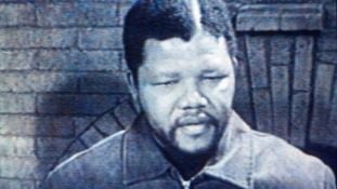 Nelson Mandela pictured in his first televised interview in 1961