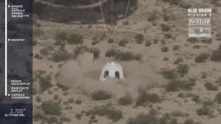 The New Shepard capsule lands in west Texas