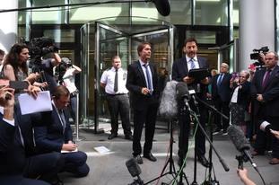 Sir Cliff Richard with his lawyer, Gideon Benaim (Victoria Jones/PA)