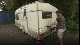 21-year-old Lewis lives in a caravan due to a lack of affordable housing.