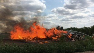 A field fire in Chittering, Cambridgeshire.