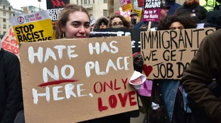 Protesters march against racism in London.