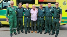 Keith Richards (centre) with crew members from South Western Ambulance Service