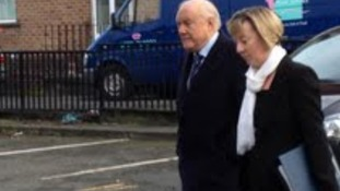 Staurt Hall arriving at Preston Magistrates Court this morning