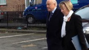 Broadcaster Stuart Hall arriving at Preston Magistrates Court this morning