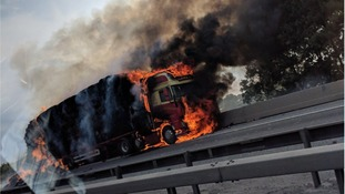 Drivers warned of delays around Stansted Airport after huge lorry fire on M11