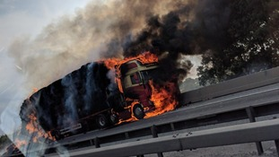The lorry caught fire on the M11 northbound between junction 8 and junction 9.