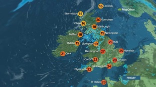 Top temperature on Friday will be 28C.