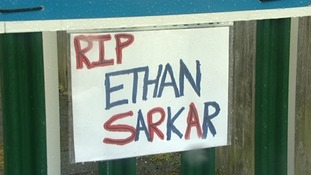 Tribute left by friends at Ethan's school