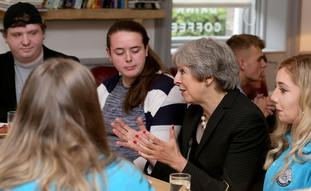 Prime Minister Theresa May met members of the Belfast Youth Forum before her speech.