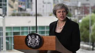 Prime Minister Theresa May addressed an audience at the Waterfront Hall in Belfast