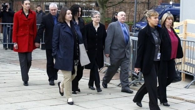 Family members of Pc Nicola Hughes and Pc Fiona Bone, arrive at Preston Crown Court.