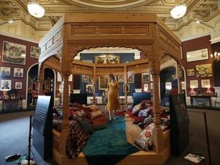 The cedar wood pavilion is based on an Afghan design.