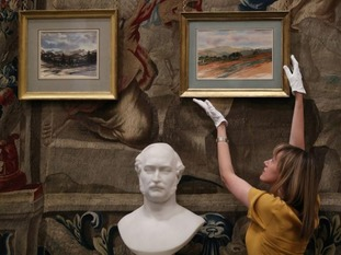 The exhibition features two watercolours by Charles painted on the Queen's private Balmoral Estate