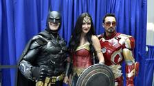 Armando Abarca as Batman, Jessica Rose Davis as Wonder Woman, and Guillermo Gonzalez, dressed as Iron Man.