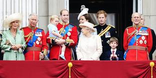 The Duchess of Cornwall, the Prince of Wales, Prince George, the Duke and Duchess of Cambridge, Queen Elizabeth II, Prince Harry, James Viscount Severn, the Duke of Edinburgh and the Duke of York on the balcony at Buckingham Palace following Trooping the Colour at Horse Guards Parade, London, in 2015