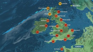 Top temperature will be 30C in the south-east of England.