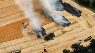 Farmers battle to stop crop fire spreading