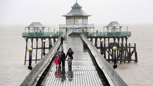People on the Victorian Pier at Clevedon, Somerset.