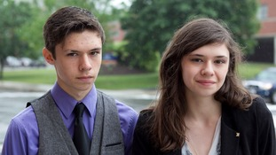 Nicole Maines, right, is seen with her brother amid her legal fight in 2014 to use the girls' toilet at her school.