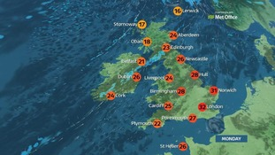 Top temperatures could hit 32C.