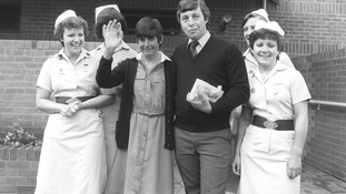 Brenda Barber, leaves Papworth Hospital with her husband following her heart and lung transplant operation in 1984