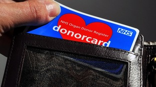 An NHS organ donor card, Spain has nearly double the number of organ donations as they use an 'opt-out' system