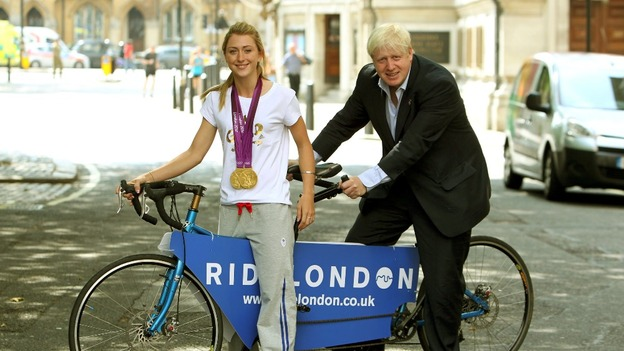Boris Johnson with Laura Trott at the launch of RideLondon 