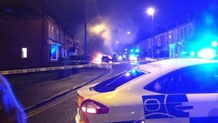 The scene on Leigh Road in Boothstown tonight.