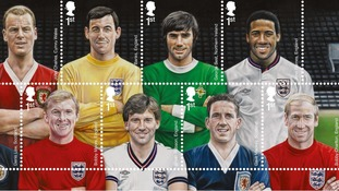 Stamp featuring football heroes