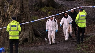 Forensic officers at woodland in Heywood where baby Pearl was abandoned.