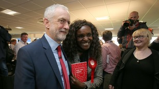 Fiona Onasanya poses for a picture with Labour leader Jeremy Corbyn during a campaign visit.