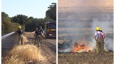 Fires broke out in Wherstead (left) and the Elveden Estate (right) on Wednesday.
