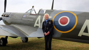Mary Ellis posing with a Spitfire at Biggin Hill - she flew over 400 of these alone.