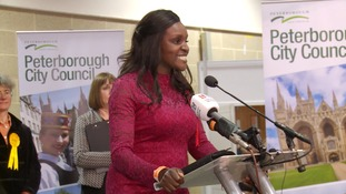 Fiona Onasanya celebrates winning her seat at the 2017 General Election.