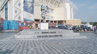 Three Leeds United legends have officially opened the new refurbished Billy Bremner Square outside Elland Road.