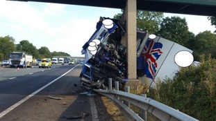 M6 to remain closed overnight after lorry damages bridge