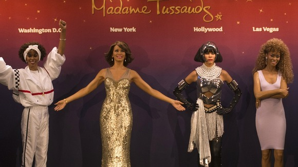 The four Whitney Houston wax figures on display at Madam Tussauds, New York