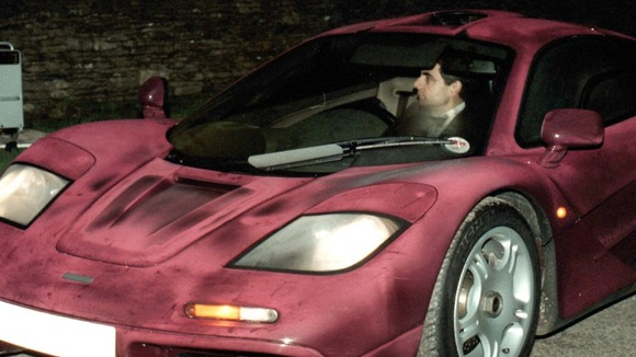 File photo: Rowan Atkinson driving his McLaren F1 supercar before the crash